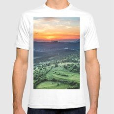 Beautiful sunset behind green fields MEDIUM White Mens Fitted Tee