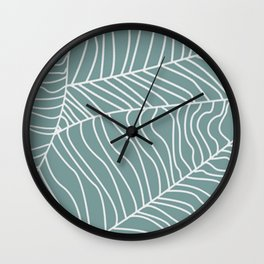 TROPICAL LEAVES - blue palette Wall Clock