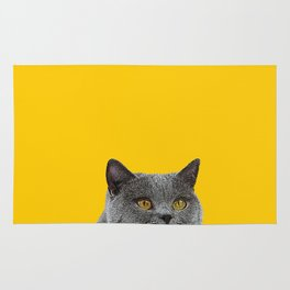British Short-haired Cat Saffron Yellow Home Decor Pet Lovers Art Grey British Rug