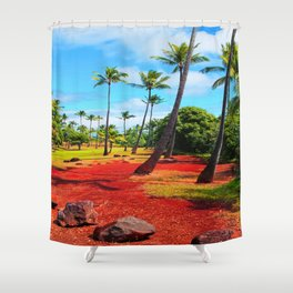palm trees with green tree and blue cloudy sky in summer Shower Curtain