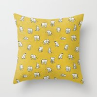 baby Throw Pillows featuring indian baby elephants by Estelle F