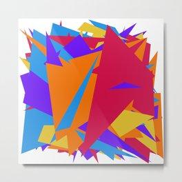 Crzy Modern Triangles - Old Rose, Tahiti Gold, Cornflower Blue Metal Print