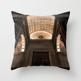 View from below of the main entrance of the Cathedral of Sant'Alessandro, the Cathedral of Bergamo A Throw Pillow