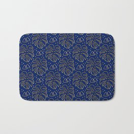 Gold Monstera on Blue Bath Mat