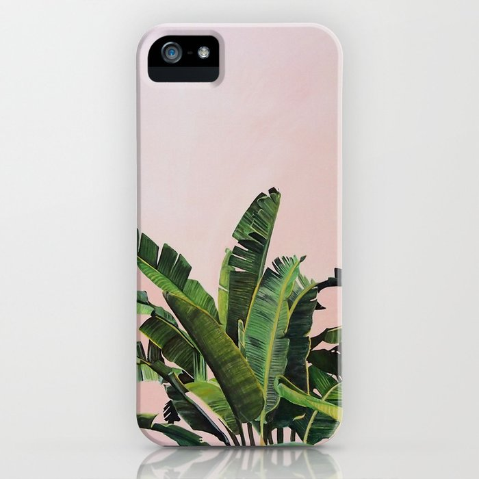 Tropical Palm leaves on pink iPhone Case