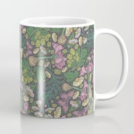 Pink hyacinth with chamomile and green hop on dark background Coffee Mug