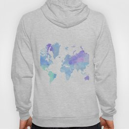 BLUE WATERCOLOR TRAVEL MAP Hoody