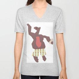 Dancing Mr. Bear Unisex V-Neck
