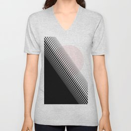 Rising Sun Minimal Japanese Abstract White Black Blush Pink Unisex V-Neck
