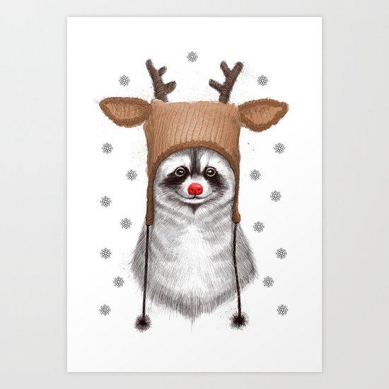 raccoon in deer hat Art Print