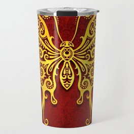 Intricate Red and Yellow Vintage Tribal Butterfly Travel Mug