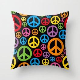 Rainbow Peace Signs Throw Pillow