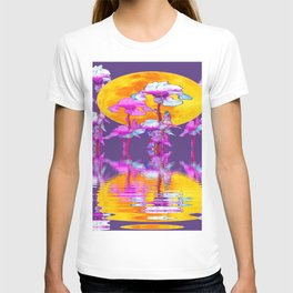 PURPLE-WHITE IRIS & MOON WATER GARDEN  REFLECTION T-shirt
