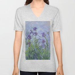 "Claude Monet ""Iris mauves"" Unisex V-Neck"