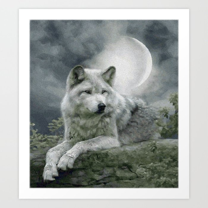 WOLF AND MOON Kunstdrucke
