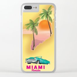 Miami Florida Vacation poster. Clear iPhone Case