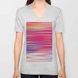 pink abstract with horizontal stripes Unisex V-Neck