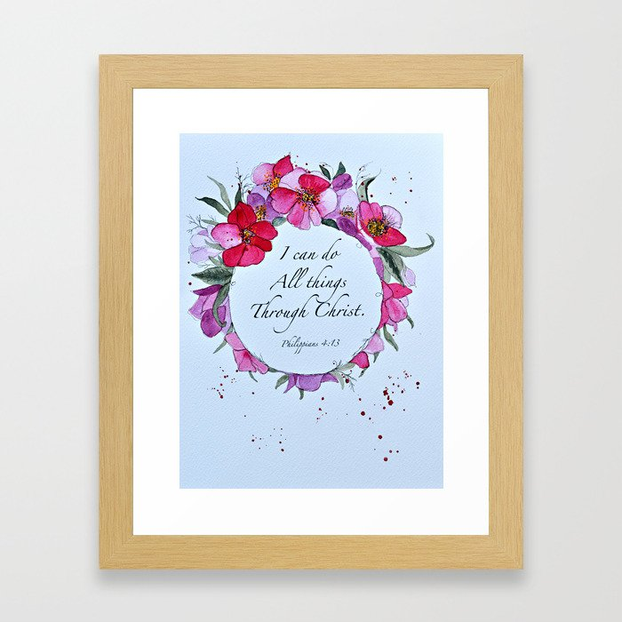 I can do all things through Christ watercolor wreath Framed Art Print