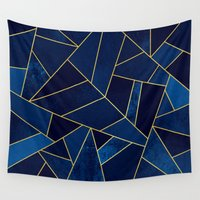stone Wall Tapestries featuring Blue stone with yellow lines by Elisabeth Fredriksson