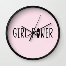 GIRL POWER // grl pwr (pink) Wall Clock