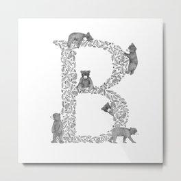 Bearfabet Letter B Metal Print