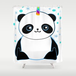 Pandacorn in the Snow Shower Curtain