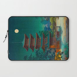 Tsuchiya Kôitsu Japanese Woodblock Vintage Print Garden At Night Moonlit Pagoda Tower Turquoise Laptop Sleeve