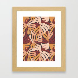 Color Block Monstera Leaves in Maroon Framed Art Print