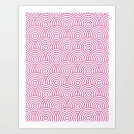 Scales - Pink & White #234 Art Print