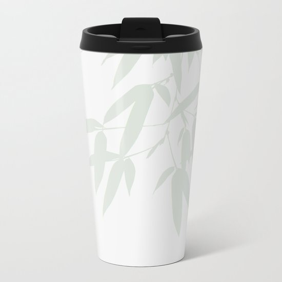 Leaves #Bamboo #Grey Metal Travel Mug