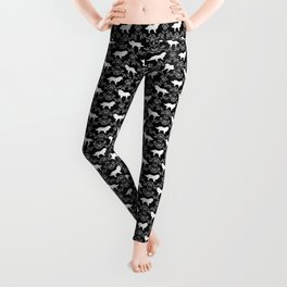 Border Collie silhouette minimal floral florals dog breed pet pattern black and white Leggings