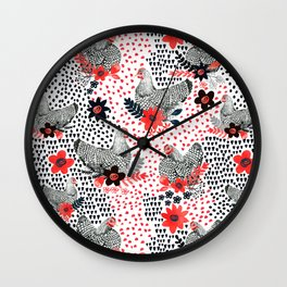 Wyandotte Chickens Wall Clock