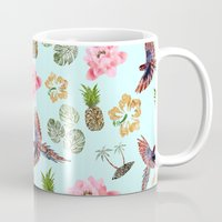hawaiian Mugs featuring Hawaiian by Stag Prints