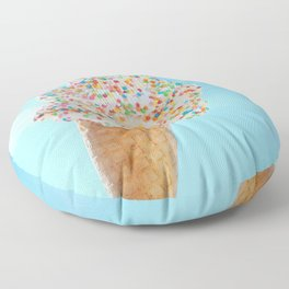 Summer ice cream with rainbow sprinkles Floor Pillow