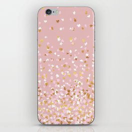 Floating Confetti - Pink Blush and Gold iPhone Skin