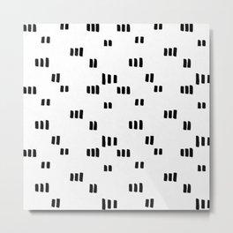 Line Dot Black Paint on Paper Metal Print