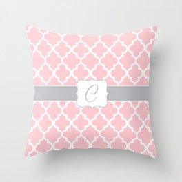 "Light Pink Moroccan Quatrefoil Pattern with ""C"" Monogram Throw Pillow"