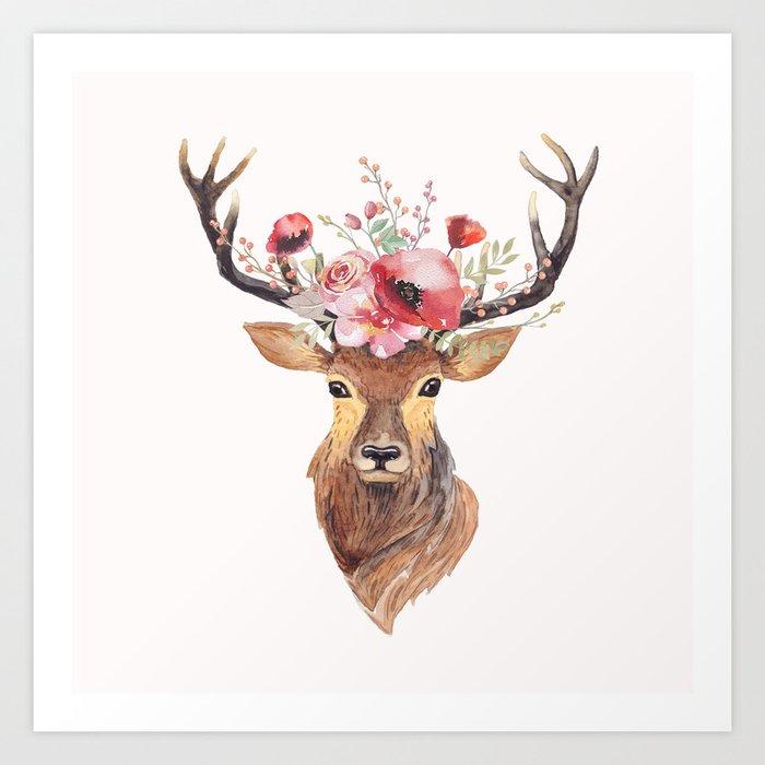Bohemian Deer Art Print By Wheimay Society6