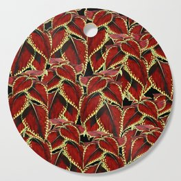 Red Leaves On Black Pattern Cutting Board