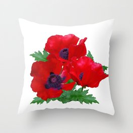 Red oriental poppies Throw Pillow