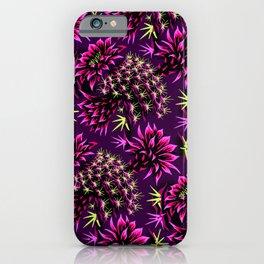Cactus Floral - Purple/Black/Green iPhone Case