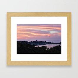 Pink sky on the sea Framed Art Print