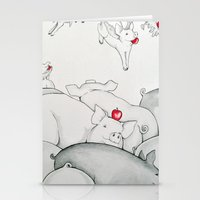 pigs Stationery Cards featuring Flying Pigs by Joshua James Stewart