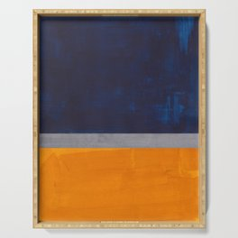 Minimalist Mid Century Rothko Color Field Navy Blue Yellow Ochre Grey Accent Square Colorblock  Serving Tray