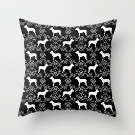 Pitbull floral silhouette pet portrait cute dog lover rescue dog lover pitbulls portrait dog breeds Throw Pillow