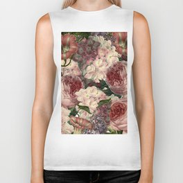 Vintage & Shabby Chic Pink Dark Floral Roses Lilacs Flowers Watercolor Pattern Biker Tank