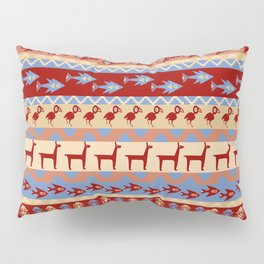 Inca Animals Fish and Birds Pattern Pillow Sham