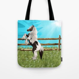 The Vanner Horse On a Heavenly Field of Daisies Tote Bag