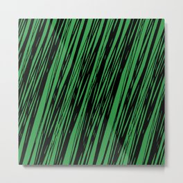 Black lines on a green background pattern Metal Print