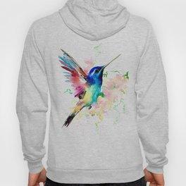 Hummingbird , Blue Turquoise Pink Hoody